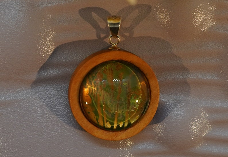 Handmade Watercolour Painting Pendant in Wood and Sterling Silver with choice to add Black Cord or Sterling Chain