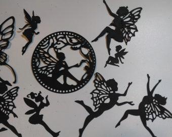 12 Fairy Fairies Dragon Die-Cuts Embellishment #23 Precut Silhouette Jar Lantern
