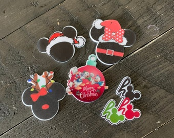 Disney Mickey Mouse Holiday Resin - Flat Back Planar Resin, hair bow center, embellishment, cabochon