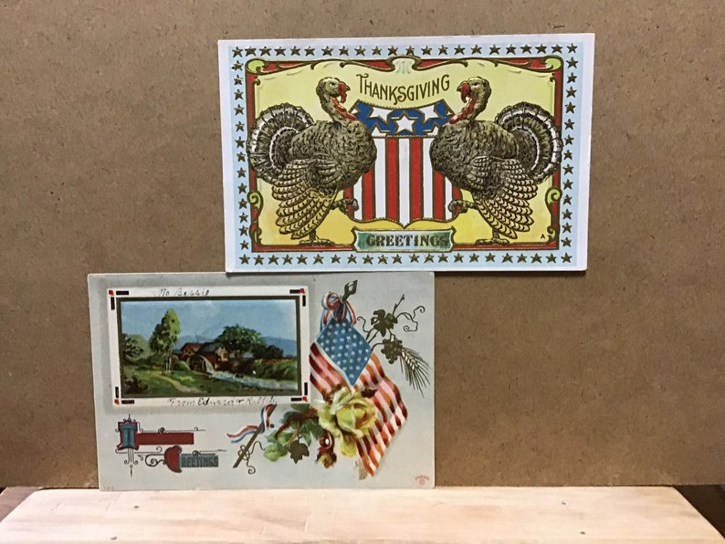 c.1910 ANTIQUE THANKSGIVING POSTCARDS,group of three with patriotic symbols great condition
