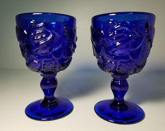 Vintage L.G. wright Fenton wild rose cobalt blue goblet ~ Set of 2