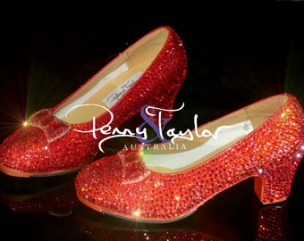 ADULT RUBY SLIPPER RED GLITTER DOROTHY RED RIDING HOOD HIGH HEEL SHOES