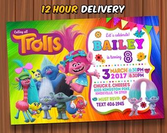 Trolls Birthday Invitation FREE Thank You Card InviteTrolls Photo InvitationTrolls PartyTrolls Digital