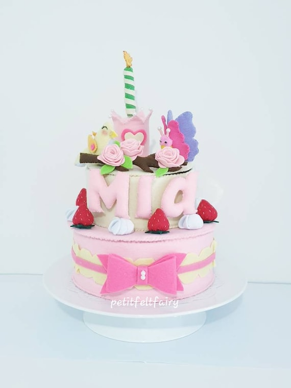 Pleasant Felt Deluxe Double Layer Cake Personalized Cake Toy Etsy Funny Birthday Cards Online Drosicarndamsfinfo