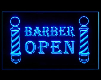 160008 BARBER OPEN Poles Haircut Hairdresser Trendy Hair Coloring Salon Beauty Display LED Light Neon Sign