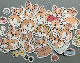 Cute Kawaii Corgi Sticker Pack | Cute | Fun Stickers | Stickers | Gift for Her | Pack of 14 Planner Stickers + Bonus Stickers