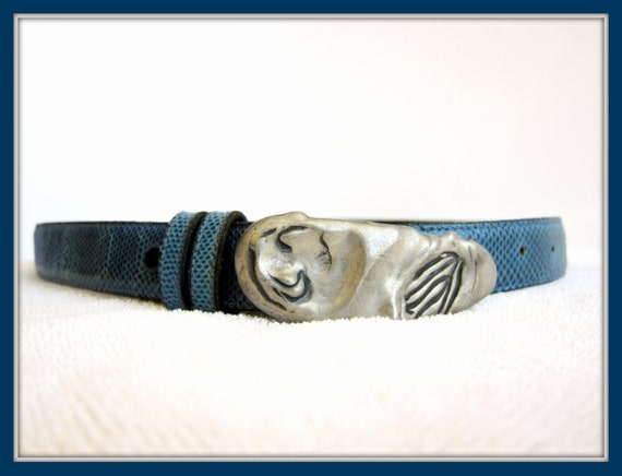 Blue Leather Belt, Artisan Leather Belt, Handcraft