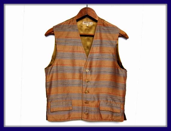 Vintage Striped Silk Vest, 70's Boho Accessory, Vi