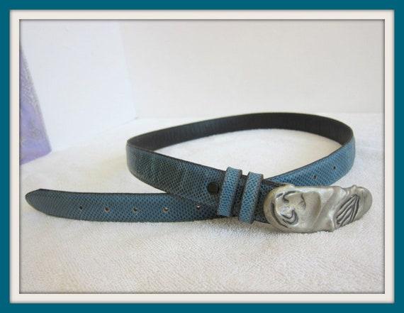 Blue Leather Belt, Artisan Leather Belt, Handcraft