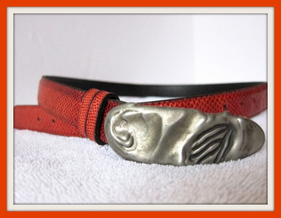 Orange Leather Belt, Artisan Leather Belt, Handcra