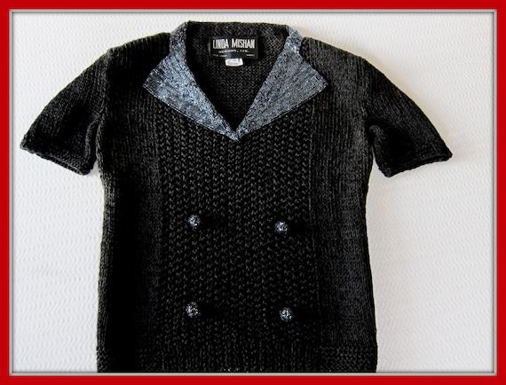 Vintage 80s Black Beaded Sweater, Tuxedo Sweater,