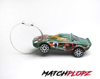 LANCIA Stratos Key Chain Matchbox Toy Car from MATCHPLOPZ vintage Retro Gift Birthday Present Friend Man green