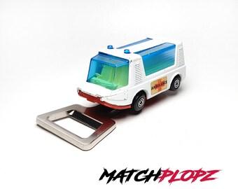 AMBULANCE Bottle Opener Toy Car from MATCHPLOPZ vintage Retro Gift Birthday Present Friend Man white