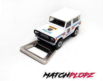LAND ROVER 90 Police Bottle Opener Toy Car from MATCHPLOPZ vintage Retro Gift Birthday Present Friend Man white