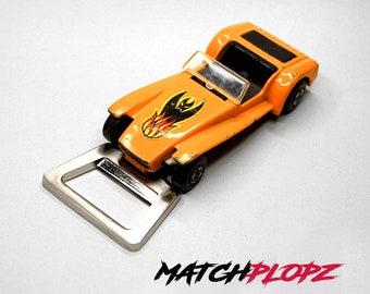 LOTUS Super 7 Bottle Opener Toy Car from MATCHPLOPZ vintage Retro Gift Birthday Present Friend Man orange