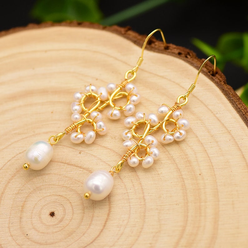 Luxury Jewelry GE0671 For Women Part Gift GLSEEVO Handmade Earrings Original Design Natural Pearl Flower Drop Earrings Dangle Earrings