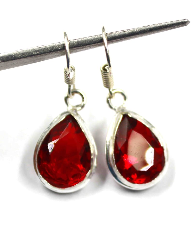 27.15 Ct Certified Handmade Silver Earrings-925 Sterling Silver Earrings Red Topaz Earrings-Dangle-Drop Earrings Valentine Gift
