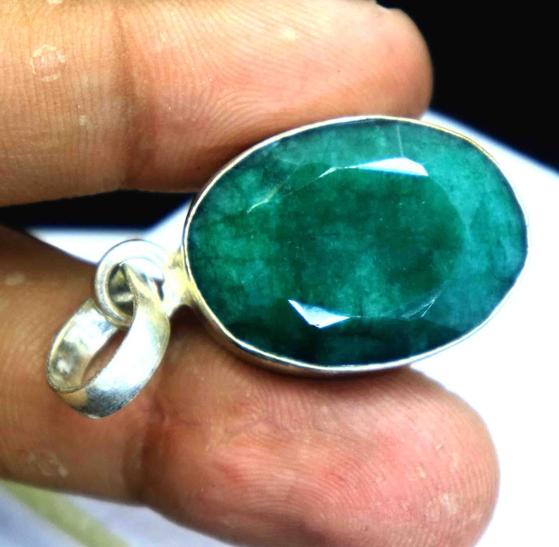 50.30 Ct Certified Natural Beautiful Green Emerald Pendant 925 Solid Sterling Silver Gemstone DS1493