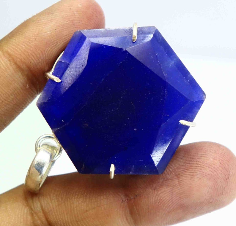 84.00 Ct Certified Natural Blue Sapphire Pendant 925 Solid Sterling Silver Gemstone DY1593