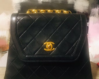 9945c8c4f336 Chanel Classic Flap Vintage Quilted Small (Trapezoid) Black Lambskin  Leather Shoulder Bag