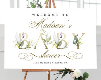Greenery Baby Shower Welcome Sign, Printable Welcome Poster, Baby Shower Signage Template with gold calligraphy, Fully Editable Template