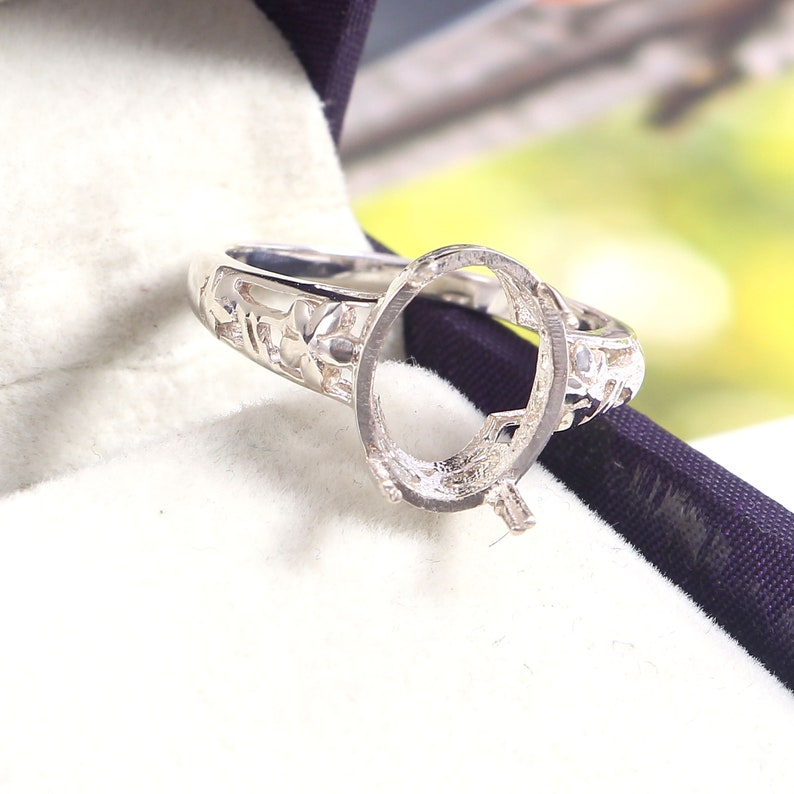 Choose your Ring Size Semi Mount Ring Engagement Ring Sterling Silver Jewelry Semi Mount Ring Stone Setting Size 14X10 MM Oval Shape