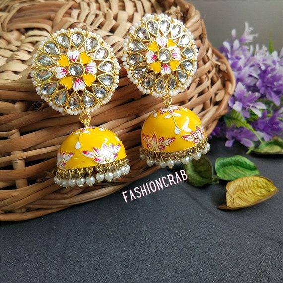 Fast Shipping FashionCrab Light Pink Meenakari Chandbali Earring for Women