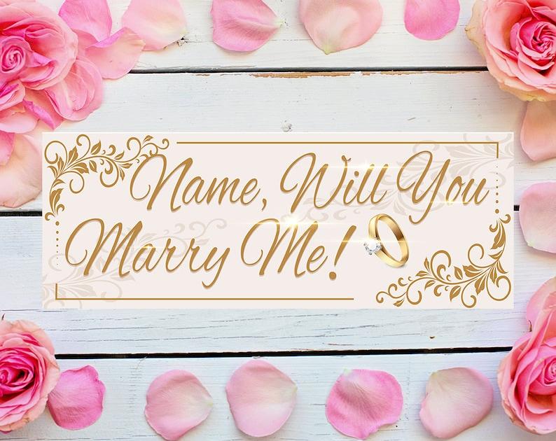 Werden Sie heiraten mich Banner personalisierte Text