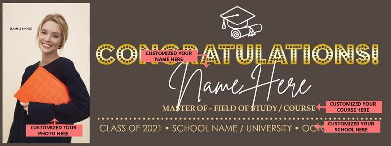 Graduation Sign Personalize Graduation Banner 2021 Class of 2021 Graduation Photo Banner Custom College Banner College Graduation Banner