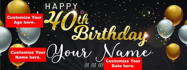Confetti Ideas Happy birthday sign Adult 40th Birthday Backdrop Banner 4 sizes Birthday Banner Personalized Custom Birthday Banner