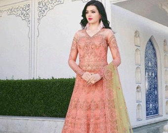 8cd1e46493 Pink Embroidered Indian Pakistani Anarkali Suit, Kurti, Gown, Lehenga,  Bridal Wear, Party Wear, Wedding Punjabi Suit, Bollywood Dress