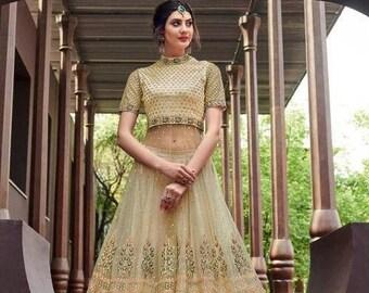 67bdc59d33 Net With Embroidery Work Lehenga Choli Wedding Party Wear, Custom Made