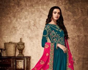 07cb4982d956 Prussian Blue Georgette Anarkali Suit With Dupatta, Custom Stitching