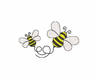 Cute bumble bee embroidery design. 2 sizes