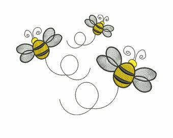 Bee embroidery design, 3 sizes