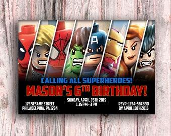 Avengers Invitation Birthday Lego Card