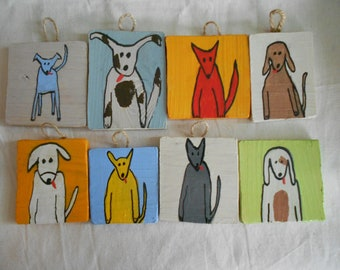 Quirky wooden dog wall-hanging