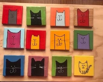 Handmade fun cat, aardvark, hedgehog, dog ceramic coasters