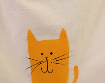 Cat bag, hand-painted, 100% natural cotton
