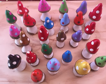 Handcrafted Sparkly Wooden Mushrooms