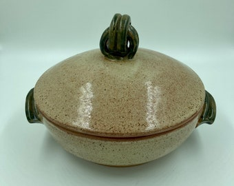 Casserole dish with lid, lidded casserole dish with handles, pottery baking dish, pottery serving dish, cream and green casserole dish