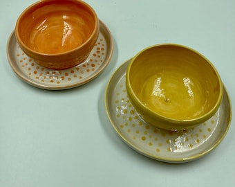 Hand made soup and cracker bowls, small chip and dip bowls, colorful soup bowls, wheel thrown bowls with attached platter
