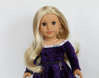 "Purple Velvet Dress (266)  Handmade Doll Clothes-Fits 18"" Doll"