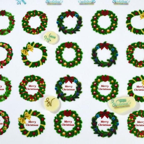 Edible Merry Christmas Wreath Transfer Sheets Sugar Art Stamps Xmas Decor Wedding Meringue Kisses Chocolate Lollipop Isomalt Fondant Cookies