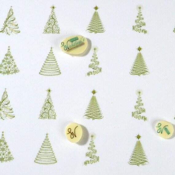 Edible Golden Christmas Tree Transfer Sheets Sugar Art Stamps Gold Winter Wonderland Xmas Cookie Wedding Meringue Kisses Chocolate Lollipop