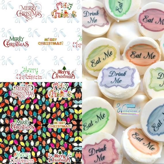 Edible Merry Christmas Transfer Sheets Sugar Art Stamps Xmas Fairy Lights Winter Wedding Meringue Kisses Chocolate Lollipops Isomalt Fondant