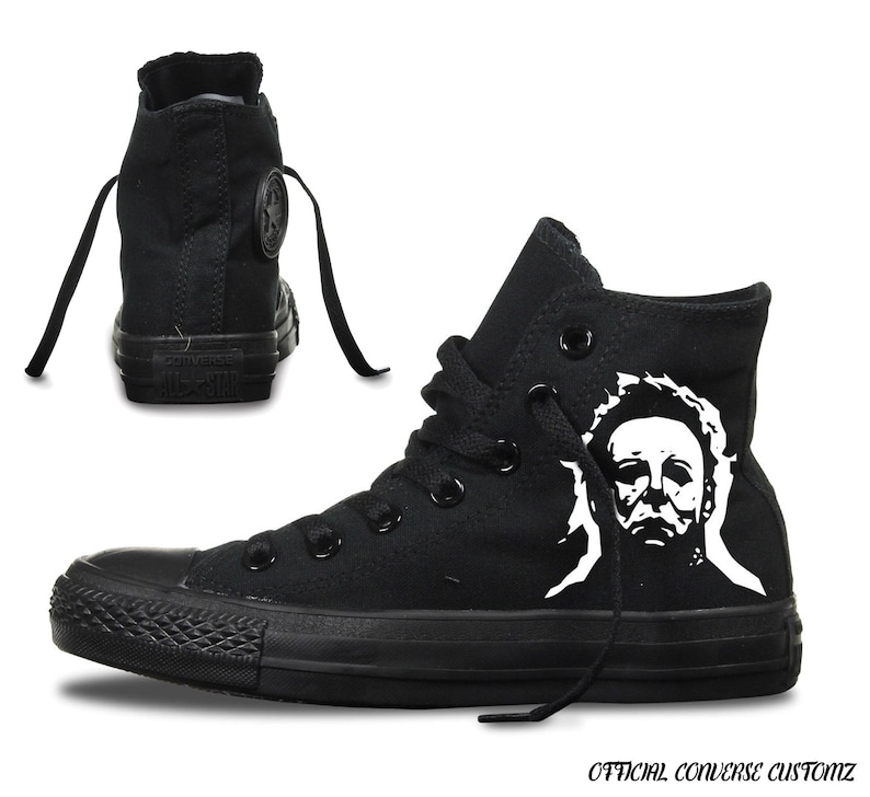 c93786e5acf09 michael myers custom printed converse high tops hi quality art halloween  print horror film classic cult