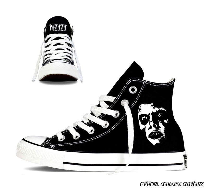 26103eebe82cf pazuzu custom printed converse high tops hi quality art halloween print  horror film classic cult exorcist