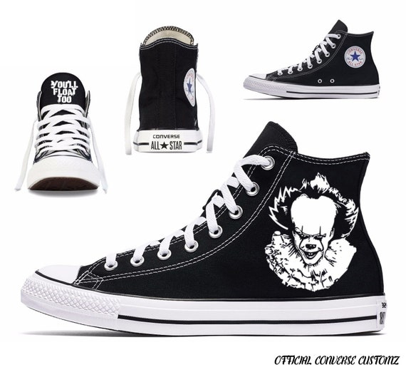 pennywise custom printed converse high tops hi quality art halloween print horror film classic cult you'll float too
