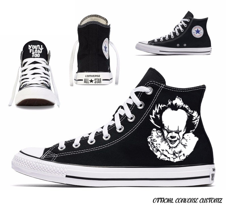 381883384db78 pennywise custom printed converse high tops hi quality art halloween print  horror film classic cult you'll float too